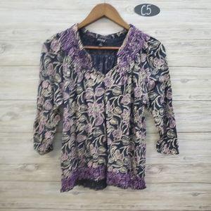 Lucky Brand Navy Purple Paisley Blouse